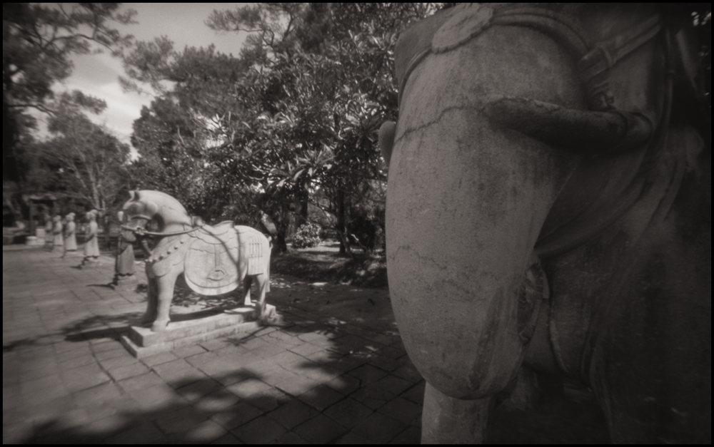 Sentinels at the Tomb of Minh Mang, Hue . Pinhole Image © 2007.