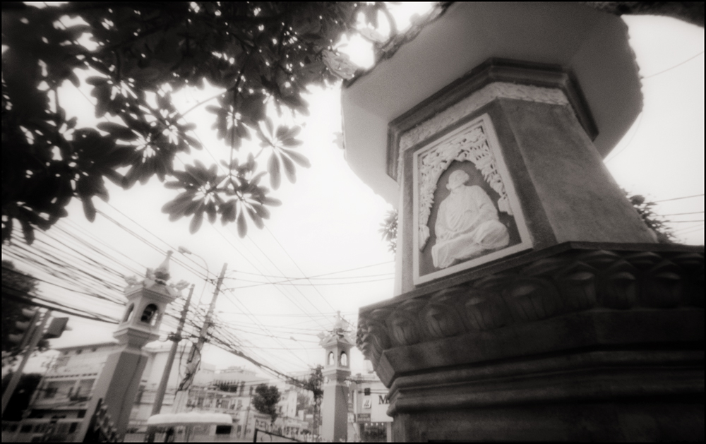 Electric Monk. Monument to Thich Quang Duc,   Ho Chi Minh City . Pinhole Image © 2007.
