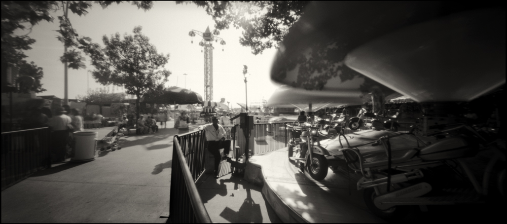 Lisa, Jumping Motorcycles . Panoramic Pinhole Image © 2008.