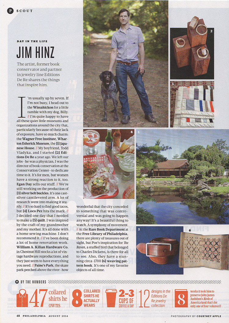 Editions De Re co-founder, Jim Hinz, in the Best of Philly issue of Philadelphia Magazine