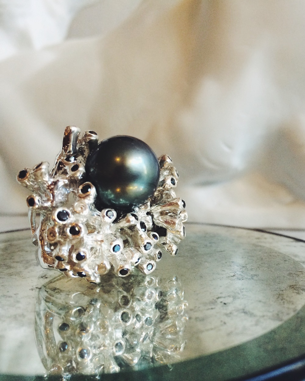"Custom Kimberlin Brown ""Gaugin"" ring with a large Tahitian pearl and black diamonds"