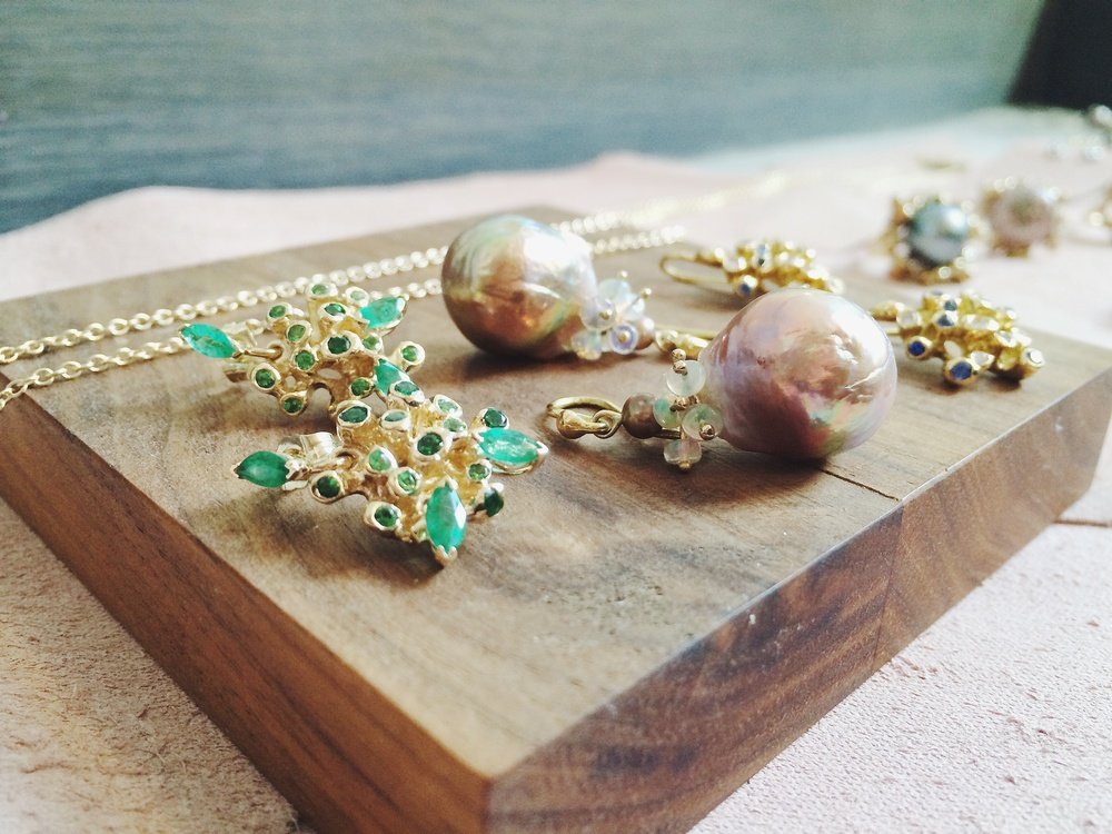 "New Kimberlin Brown starburst ""anemone"" earrings and Japanese ""kasumi"" pearls with Ethiopian opals"