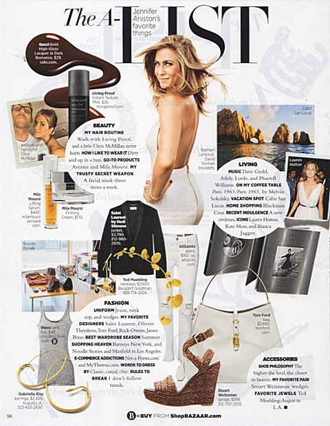 Our Ted Muehling gold plated petal necklace and Gabriella Kiss large snake hoops are just a few of Jennifer Aniston's favorite things, as told to Harper's Bazaar, December 2014/January 2015
