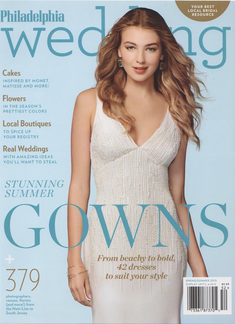 Gabriella Kiss pale green aquamarine earrings on cover of Philadelphia Wedding Spring/Summer 2015