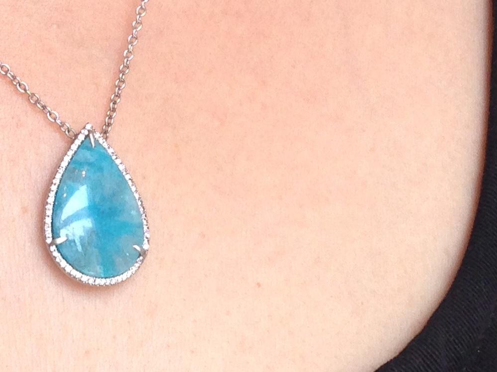 sea blue paraiba tourmaline necklace with pave diamonds at our loriann stevenson trunkshow
