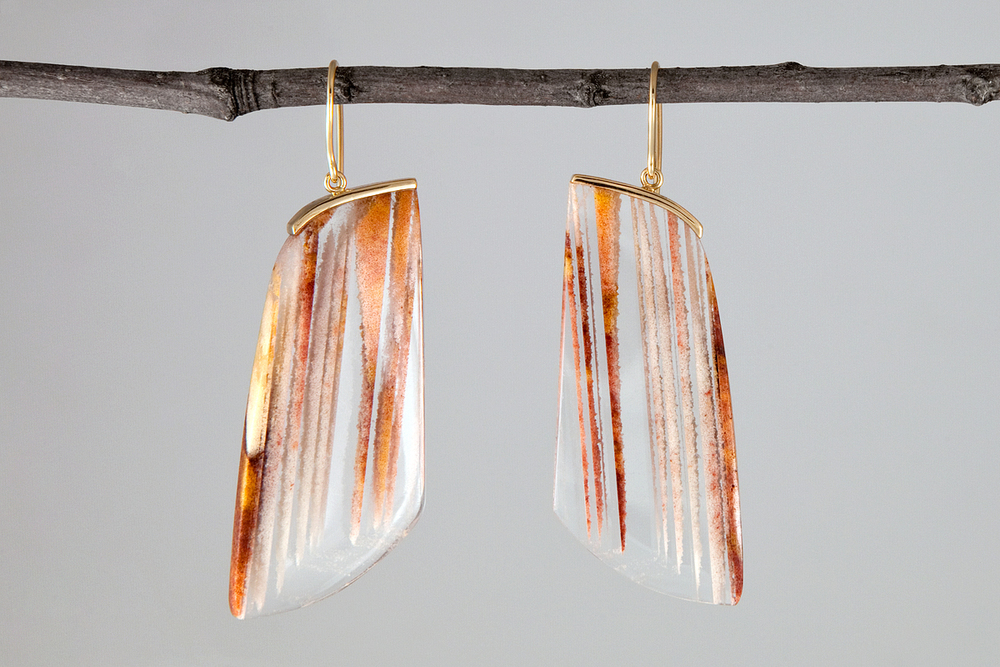 nicole landaw angled sand quartz earrings