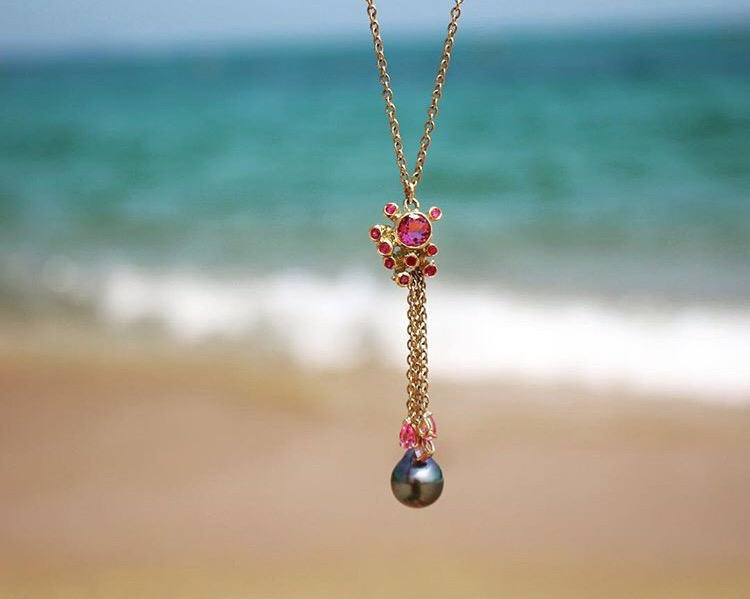 "kimberlin brown ruby and pink sapphire anemone necklace ""Pearls and the mediterranean sea"""