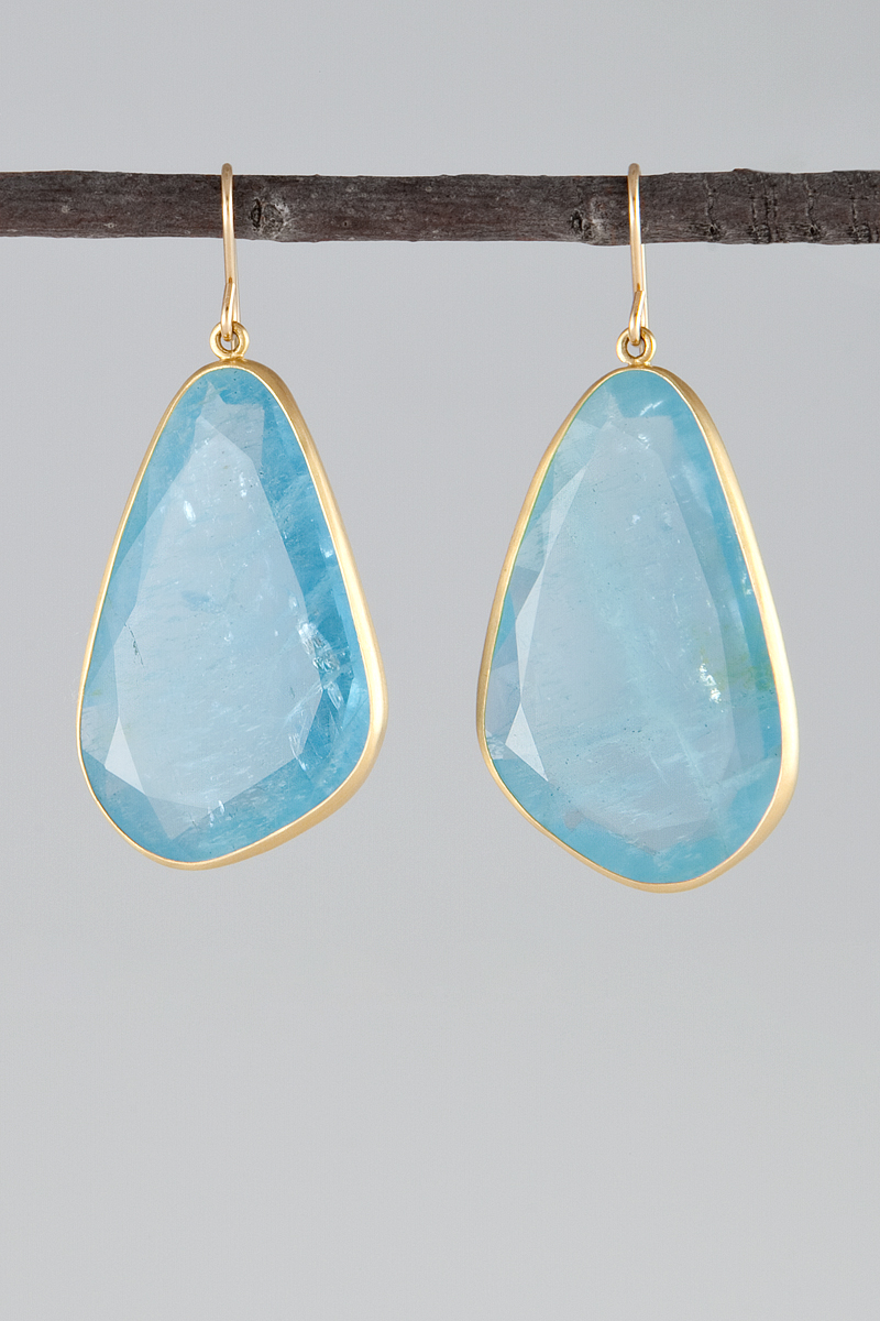 maria beaulieu Faceted aquamarine earrings