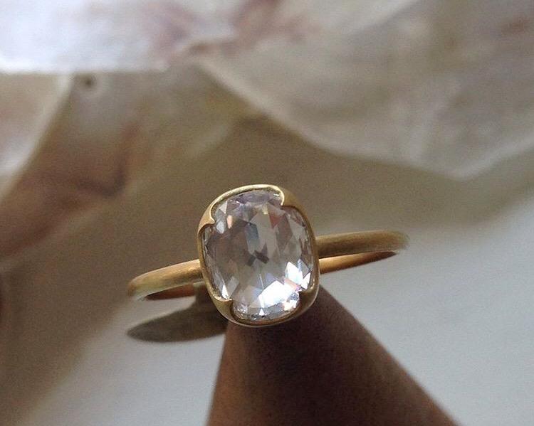 newgabriella kiss gia-certifiedcushion rose cut diamond ring