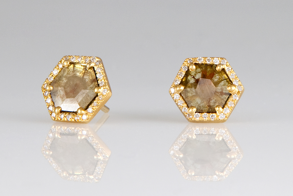 loriann stevenson yellow diamond slice hexagon studs with pave diamonds
