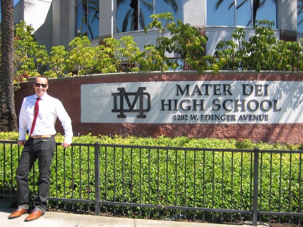 Front entrance of Mater Dei High School in Santa Ana, California, on the corner of Edinger Avenue.
