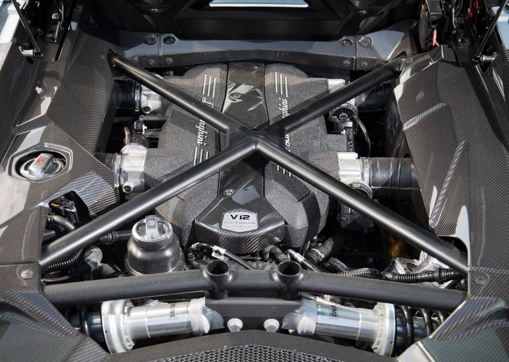 The Lamborghini Aventador's incredible engine bay