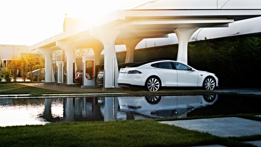 A Tesla Supercharger station. Free charging for Tesla owners.