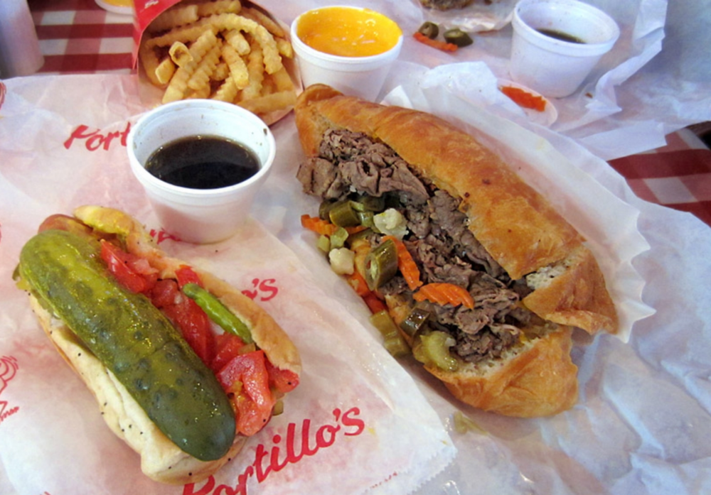 The Bare Portillo's essentials: the Chicago staples of Italian beef and a Chicago style hotdog with the works. Oh yeah, and cheese fries too