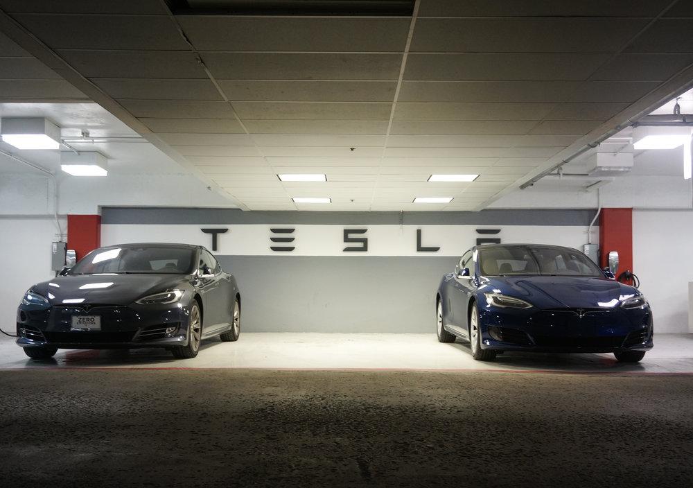 Tesla charging station at Oak Brook Mall.