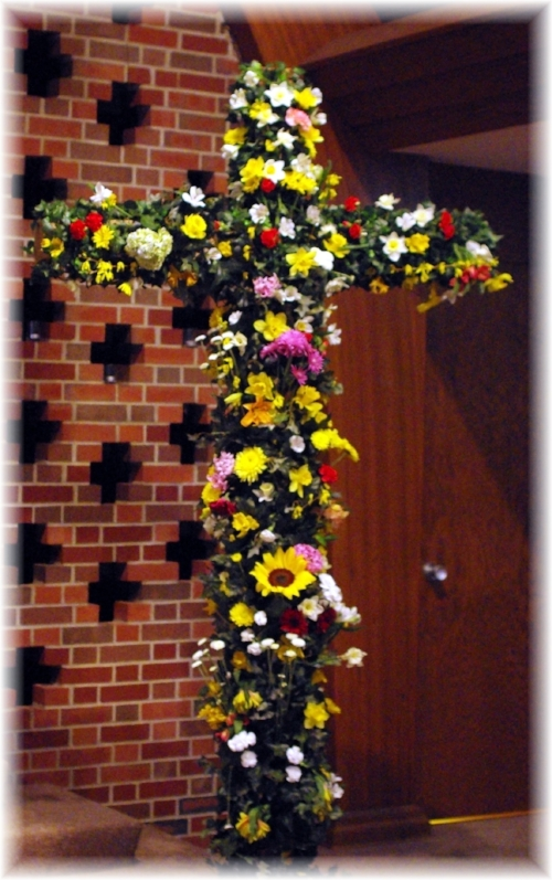 Bring your fresh picked flowers (or a bouquet you purchased) and insert them in the ivy on our sanctuary cross.  Once the cross is covered in flowers, have your photo taken with the cross as a backdrop.