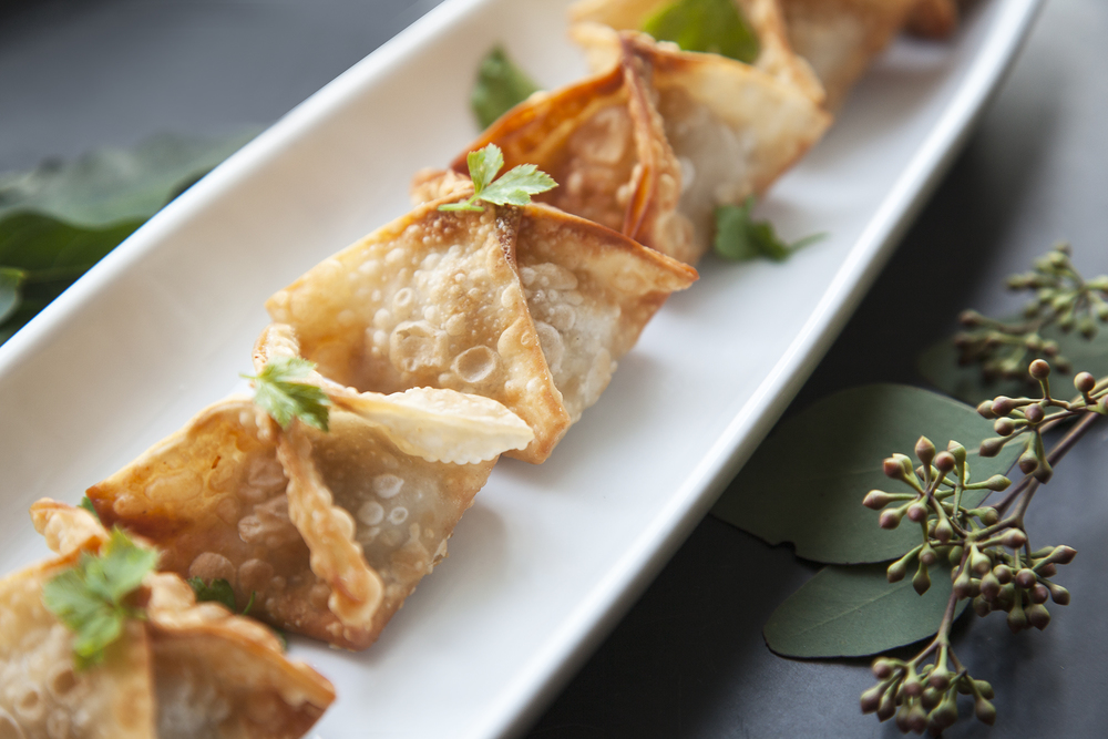 Chicken Wontons with Asian Celery Leaves