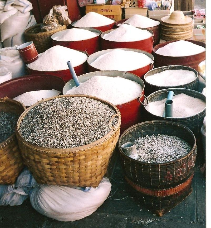 From Black Rice to Jasmine Rice in a market in  Bagan, Myanmar.