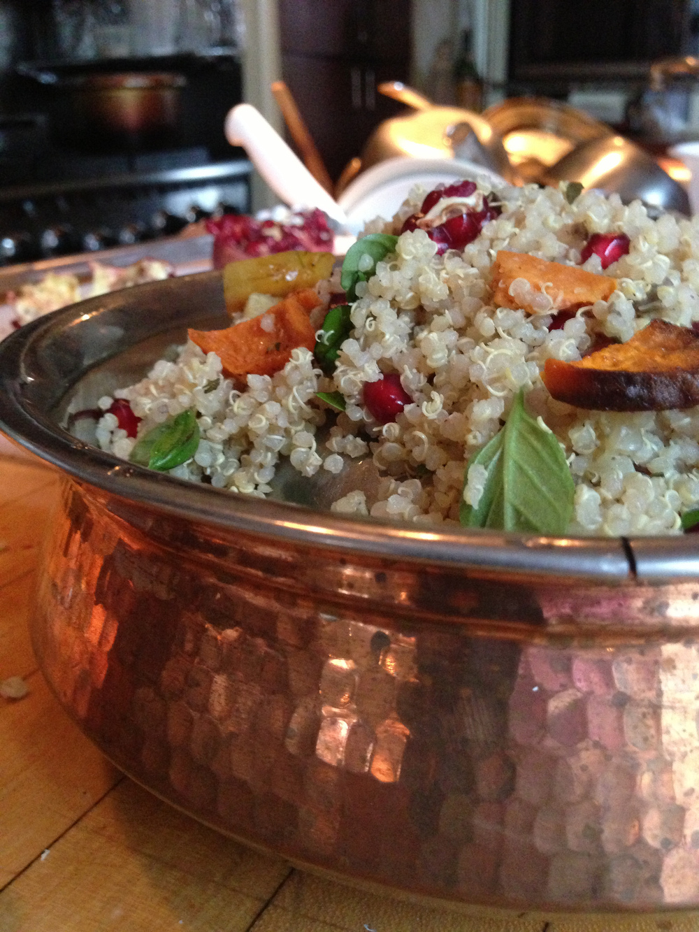 Pearls of quinoa toss with three types of yam and roasted rainbow carrots.