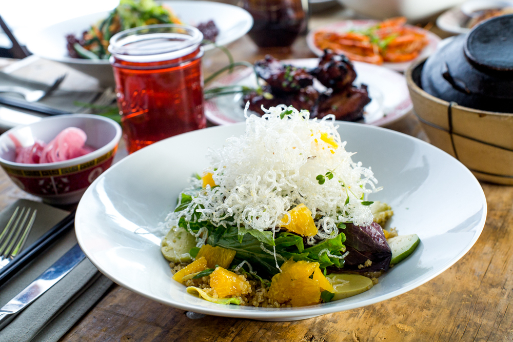 Yuzu Greens Salad with quinoa and seasonal greens