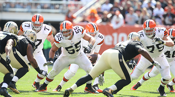 Greco, Mack, and Bitonio form a tremendous interior while 5-time 1st team All-Pro Joe Thomas holds down the left.