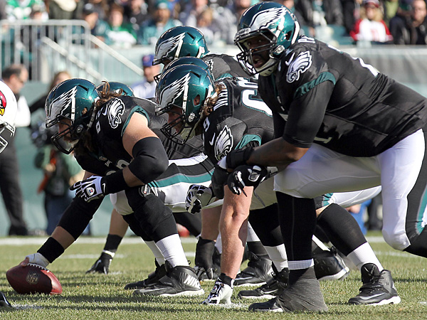 The complete Eagles starting O-line was never on the field at the same time in 2014.