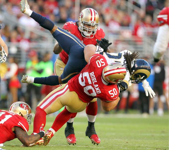 Citing concerns about concussions, LB Chris Borland retired after just one year in the NFL. Borland was San Francisco's highest graded player on defense in 2014 (+20.8).