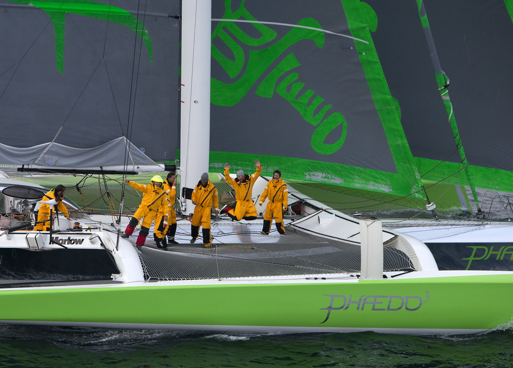 Phaedo³  celebrates finishing the Transatlantic Race 2015. (photo credit Rachel Jaspersen)