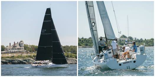 Steve and Heidi Benjamin's Carkeek 40   Spookie   (left) and Tristan Mouligne's Quest 30   Samba   (right) during the 2015 Ida Lewis Distance Race (Photo Credit: Meghan Sepe)