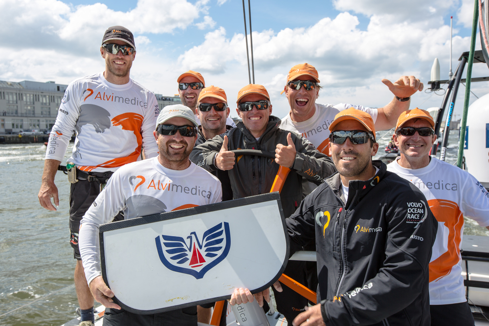 Team  Alvimedica  displays the Newport Shipyard 'bird' during the last VOR