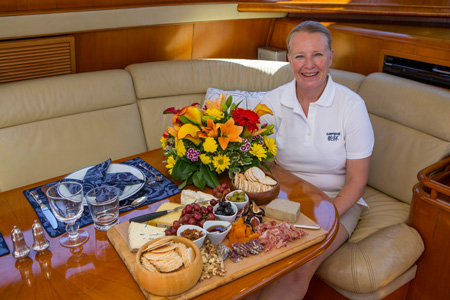 The sunset canapé competition will take place onboard yachts 99 feet and under on Wednesday, June 23rd. (Photo Credit Newport Charter Yacht Show/Billy Black).