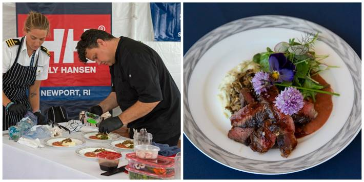 Best Charter Yacht Chef winner Ian Gabbe of the 116-foot M/V Renaissance and his winning dish. (photos by Jennifer Tinkoff)  Click photo to download in high resolution
