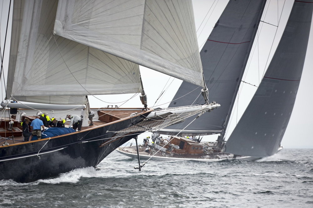 The 170' (52 meter) schooner  Meteor , built by Royal Huisman (foreground), and the 138' (42 meter) J Class Sloop  Ranger  compete in the 2016 Candy Store Cup. Both superyachts will be back again for the second annual running of the event. (photo credit: Bill Black)   Click photo to download in high resolution