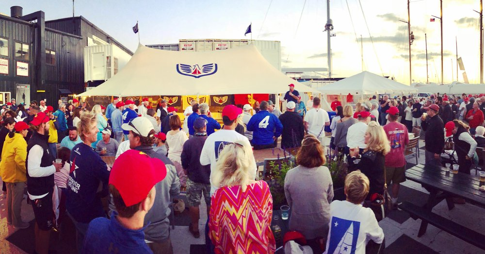 Over 200 sailors convene at Newport Shipyard for the after party & prize giving.