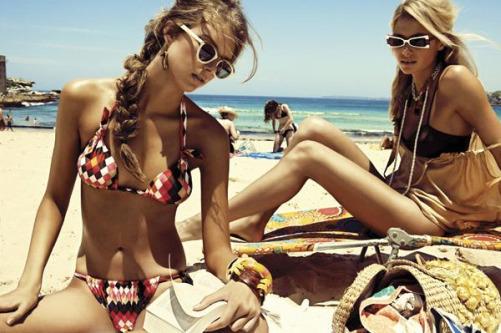 Beach bikini tanning
