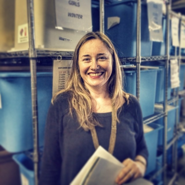 Founder Sandie Trombert in the old Little Essentials warehouse in 2014