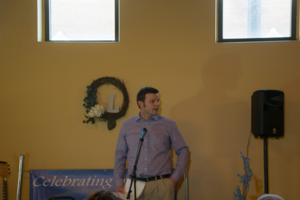 Jeremy Wike, InterFaith Mission, Inc.'s board president, speaks at The Lighted Gala recently.