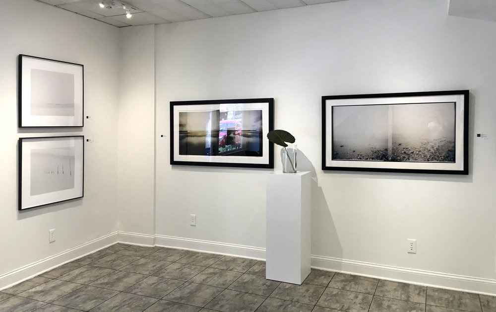 POUND NET I, 2015 and POUND NET III, 2015 (left, by Mike Basher) and Untitled 1 and Untitled 2, 24x48 inch archival pigment prints (center and right, by Mark Stetler)