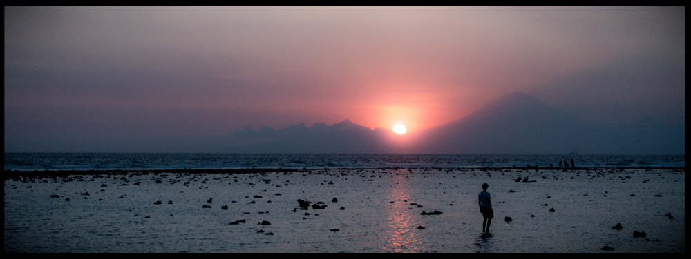 Beautiful sunset with Bali in sight.