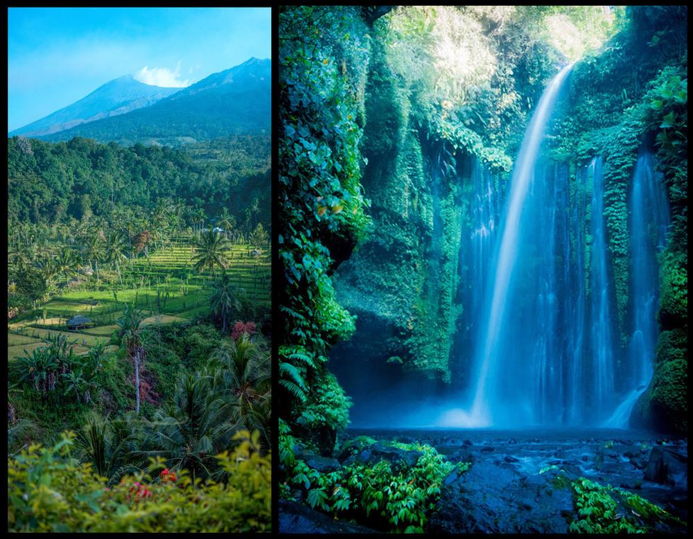 View from our room in Senaru! & beautiful Senaru waterfall.