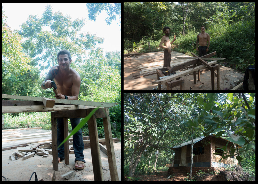 Left: Mikey working away! Top Right: Mikey and Tiago. Bottom Right: Our Jungalow!