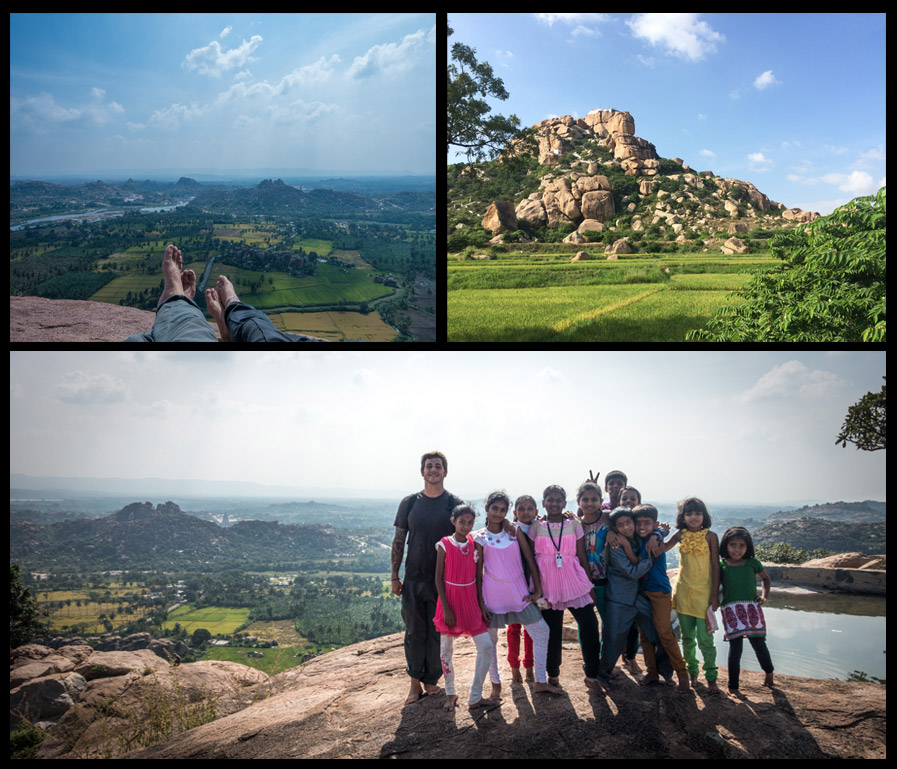 On the hillwhere the Hanuman Temple resides. The top right is the view from the bottom.