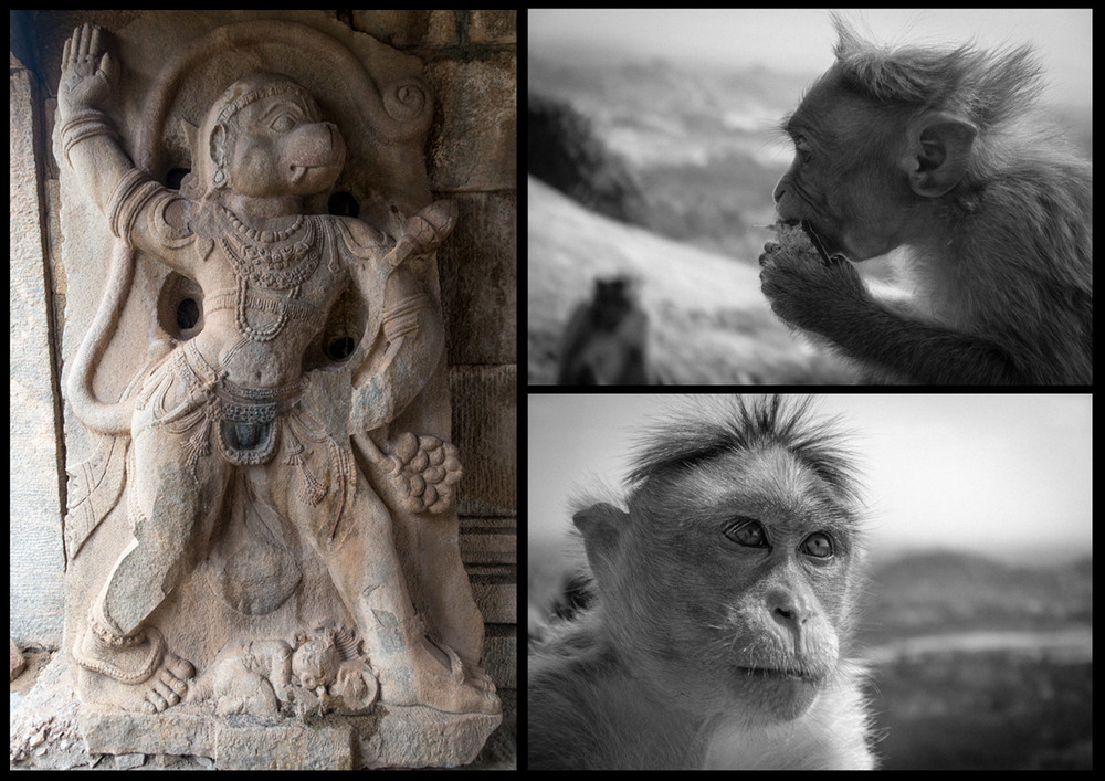 Monolithic carving ofHanuman.