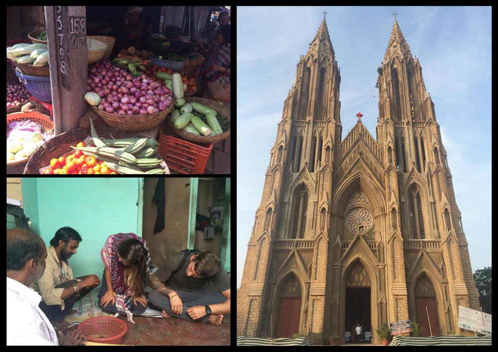 Mysore market, Beedie factory, huge catholic cathedral.