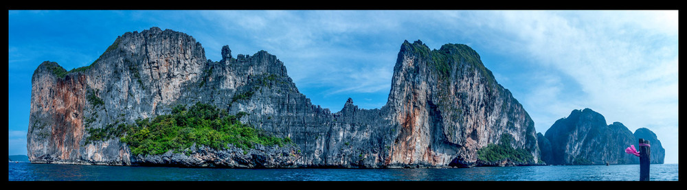 """Approaching Koh Phi Phi Leh, where they filmed the movie """"The Beach"""" with our favorite Mr. Leo."""