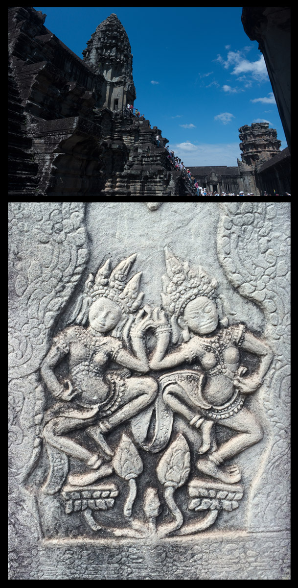 Above: The steep stairs leading to the heart of the temple. Below: Beautiful carvings covering every inch of the complex.