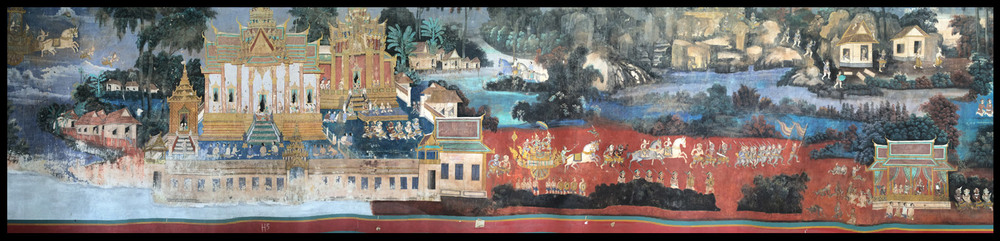 A small portion of the many mural paintings at the Palace of King Sihanouk. The mural stretched for hundreds of feet decorating the courtyard walls.