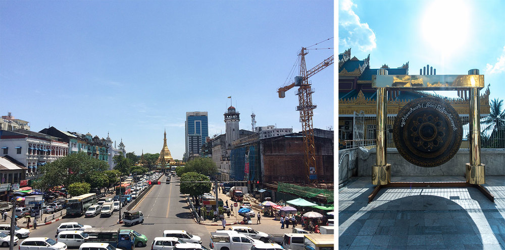 Left: The city center of Yangon. Right: Gong at the Shwedagon Pagoda.