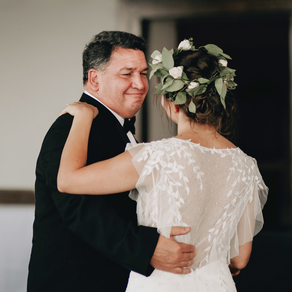 Father Daughter First Dance Flower Crown Wedding Dress Back Lace Photography Anthology