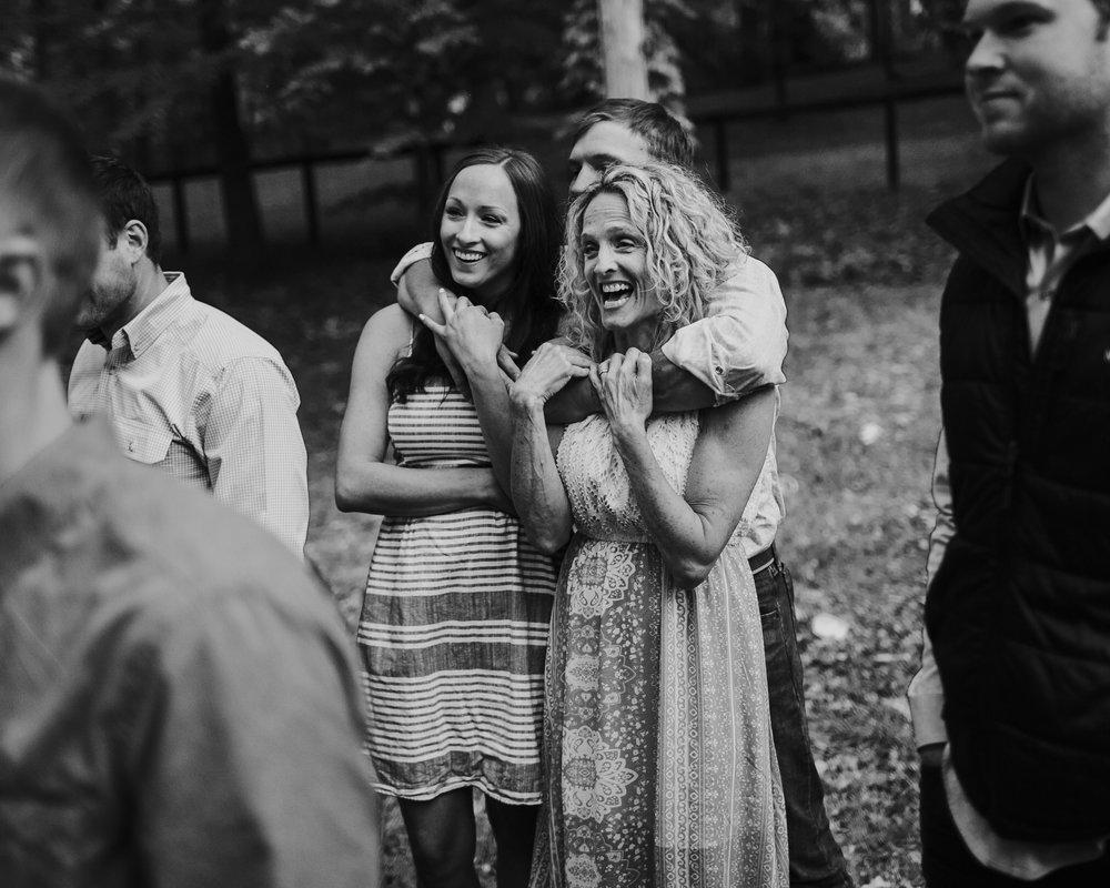Wedding Guests Excited Black and White Backyard Wedding Photography Anthology Nashville